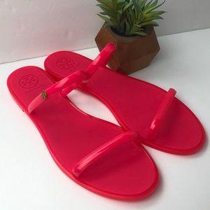 Tory Burch Hot Pink Jelly Flip Flop Sandals 10